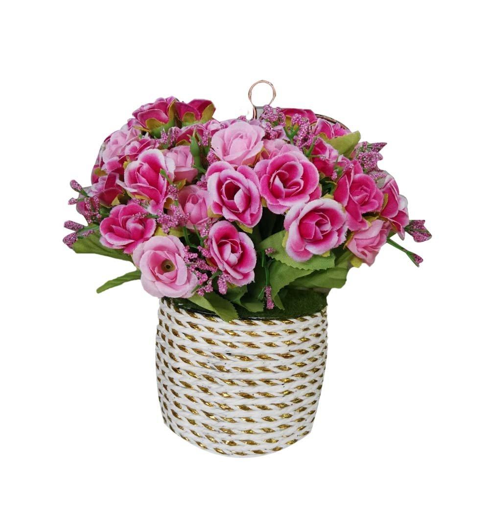 Hanging Basket Simulation Flowers Handmade Roses Artificial Flowers PANDA SUPERSTORE PS-HOM13819001-AMIEE00017