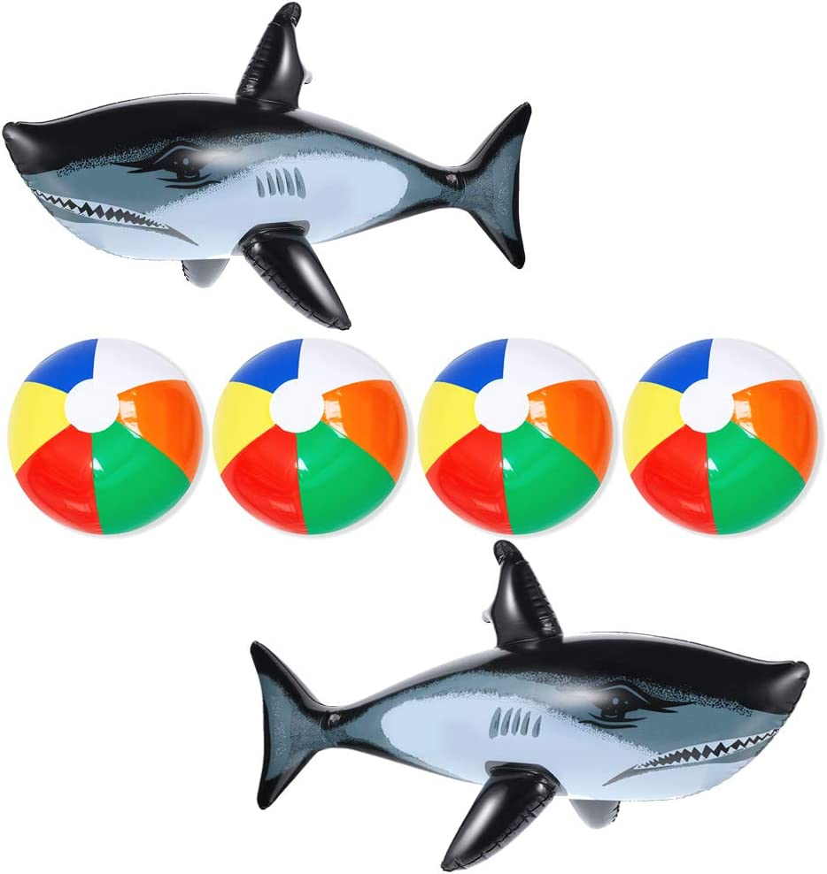 4Pcs Inflatable Beach Balls & 2Pcs Shark Balloons Plastic Pool Party Rainbow Balls for Kids Water Fun Play