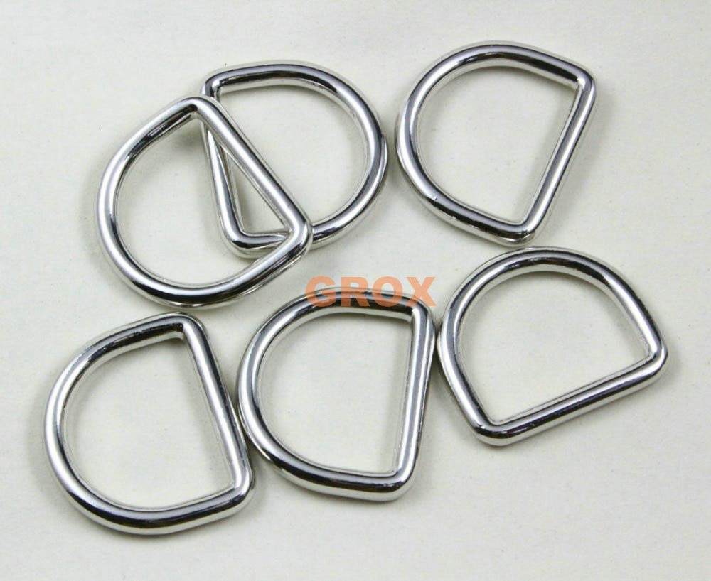 Ochoos 50 Pieces 26.5mm Nickel Color Welded Metal D Ring Purse Bag Dee Ring