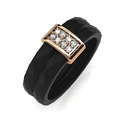 794791fff FAPPAC Ceramic Bar Ring Band Enriched with Swarovski Crystals - Black - 5