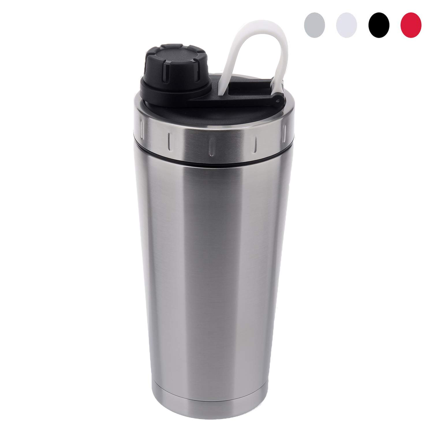 Stainless Steel Protein Shaker Bottle Insulated Keeps Hot/Cold Dishwasher Safe/Double Wall/Odor Resistant/Sweatproof/Leakproof/BPA Free 20 oz (Silver)