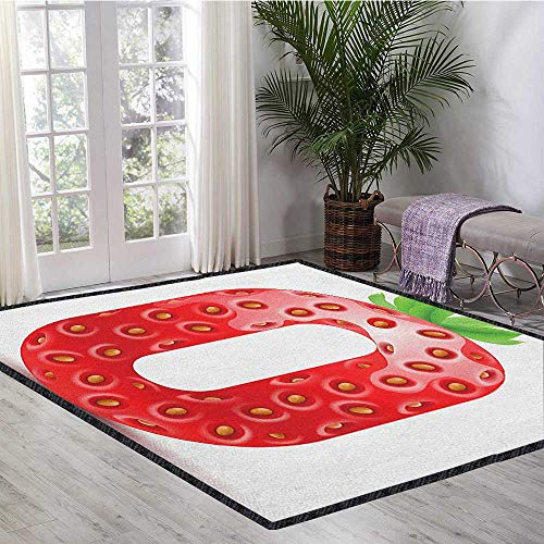 Numbers Colorful Area Rug,Number Zero Strawberry Style Mathematics Algebra Organic Food Healthy with No-Slip pad Vermilion Green Orange 47