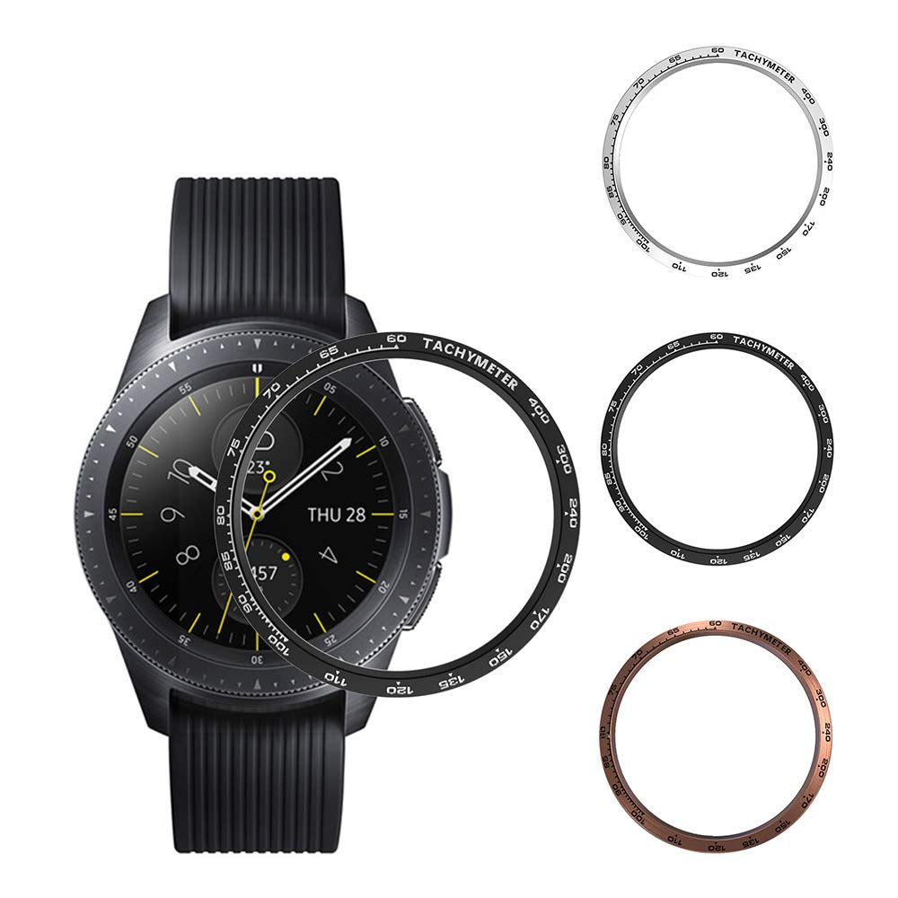 [3-Pack] Bezel Ring Compatible with Samsung Galaxy Watch 42mm Gear Sport,Stainless Steel Anti Scratch Watch Dial Protector Ring (Black+ Silver+Rose Gold-2, 42mm) by Richone