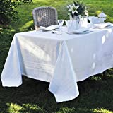 Garnier Thiebaut, Beauregard Blanc (White) Tablecloth, 75'' x 122'', 100% two-ply twisted cotton, Made in France