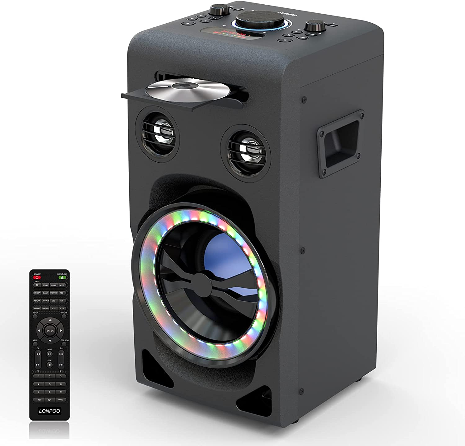 LONPOO Home Stereo System Bluetooth Party Speaker with DSP and Enhanced Bass, LED Lightshow, CD/DVD Player HDMI, Karaoke MIC 2 Ports, FM Radio, USB/AUX Input, Remote Control (P10)