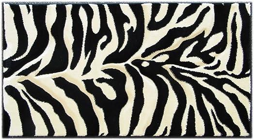 Hand-Carved Zebra Door Mat 2 Ft. X 3 Ft. 8 In. 245 Black