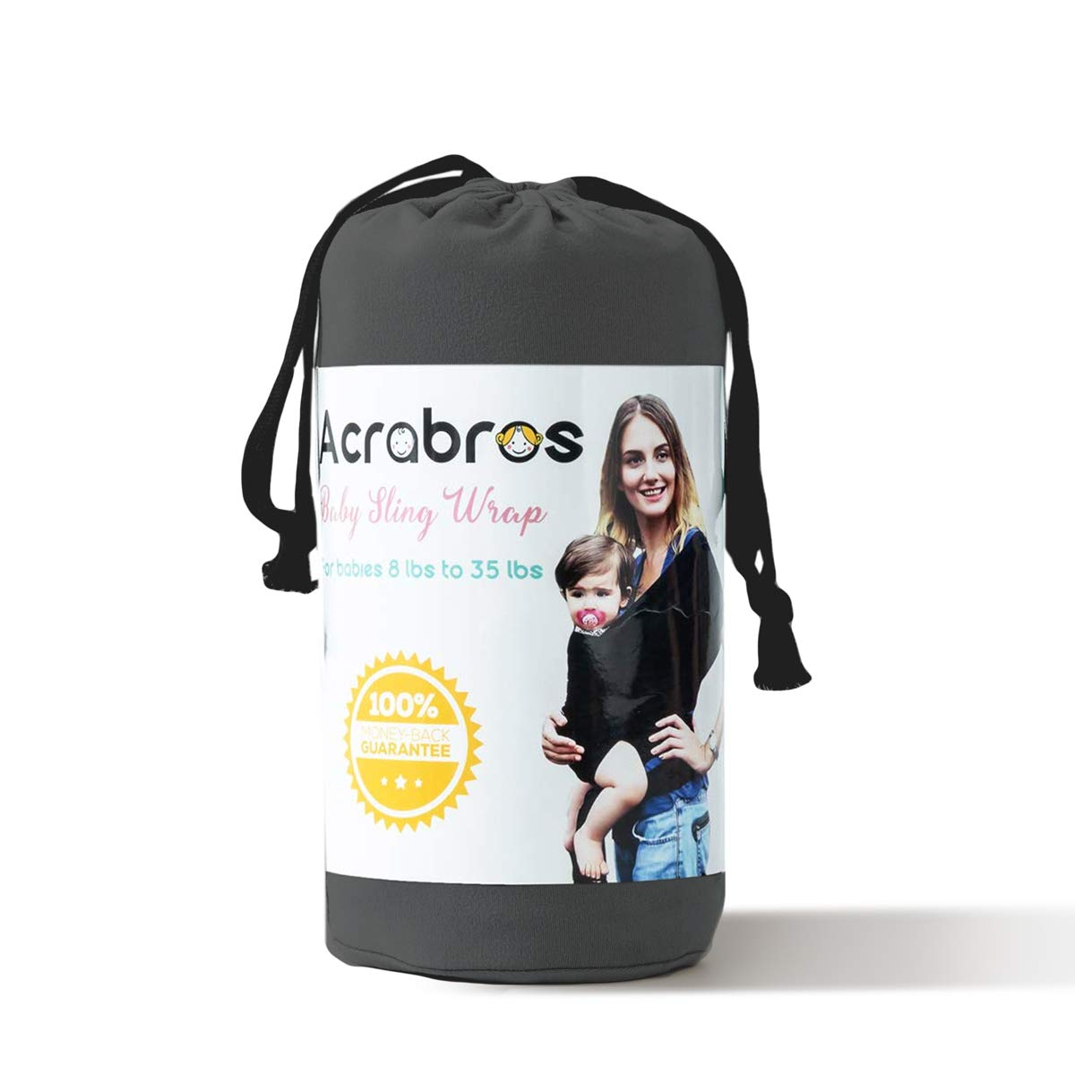 Acrabros Baby Wrap Carrier,Hands Free Baby Carrier Sling,Lightweight,Breathable,Softness,Perfect für Newborn Infants und Babies Shower Gift,Charcoal Grey