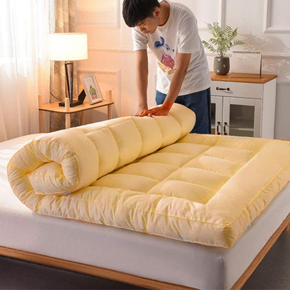Traditional Japanese Foldable Futon Mattress,Washable Thicken Tatami Floor Mat Japanese Bed Queen-King Mattress Topper-Beige 135x200cm(53x79inch) by Ling Shop
