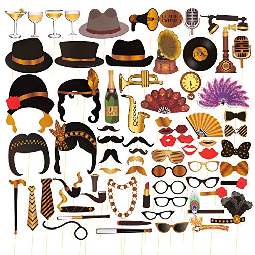72-Pack Roaring 1920's Photo Booth Props - Party Backdrop Decorations, Selfie Props, Photo Booth Accessories, Party (1920 Backdrop)