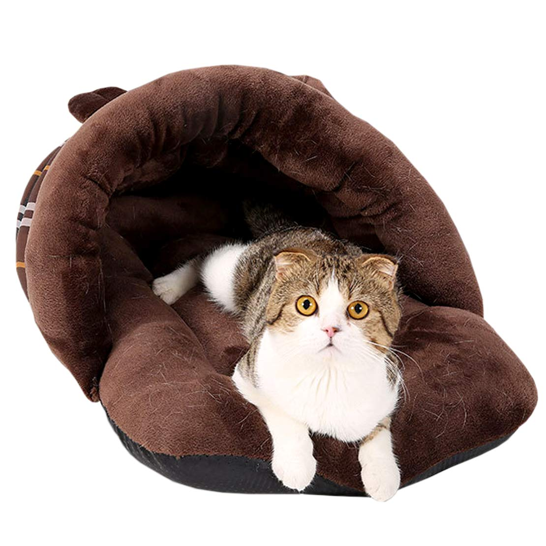 VeMee Plush Cat Sleep Bag Cozy Pet Cave Bed Covered Pet Beds Cave for Cat Small Dogs and Puppies