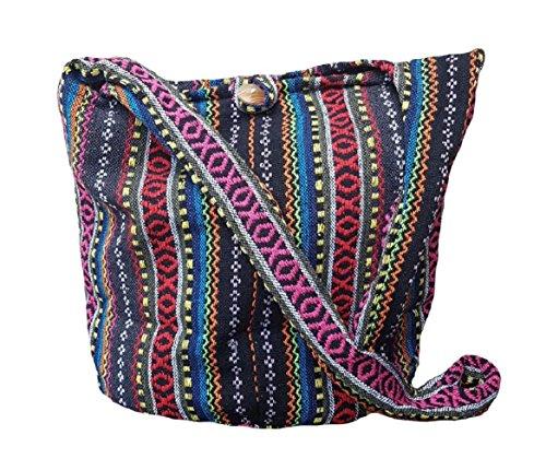BTP! Thai Cotton Sling Bag Purse Crossbody Messenger Hippie Hobo Hand Woven Ikat (Multicolored A103)