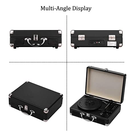 JJmooer Tocadiscos portátil Tocadiscos Classic Suitcase Style 3 ...