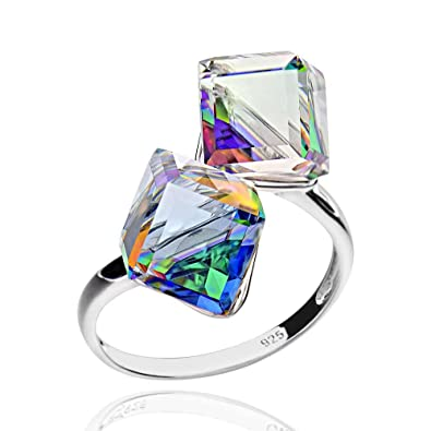 f4bc15917 Sterling Silver Double Cubic Genuine Swarovski Crystal Bypass Ring Sz 7