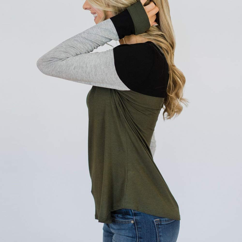 SHOBDW Sudadera para Mujer de la Moda Cuello Redondo Color Block Patchwork Oto/ño Invierno Tops de Manga Larga Camiseta Daily Blouse