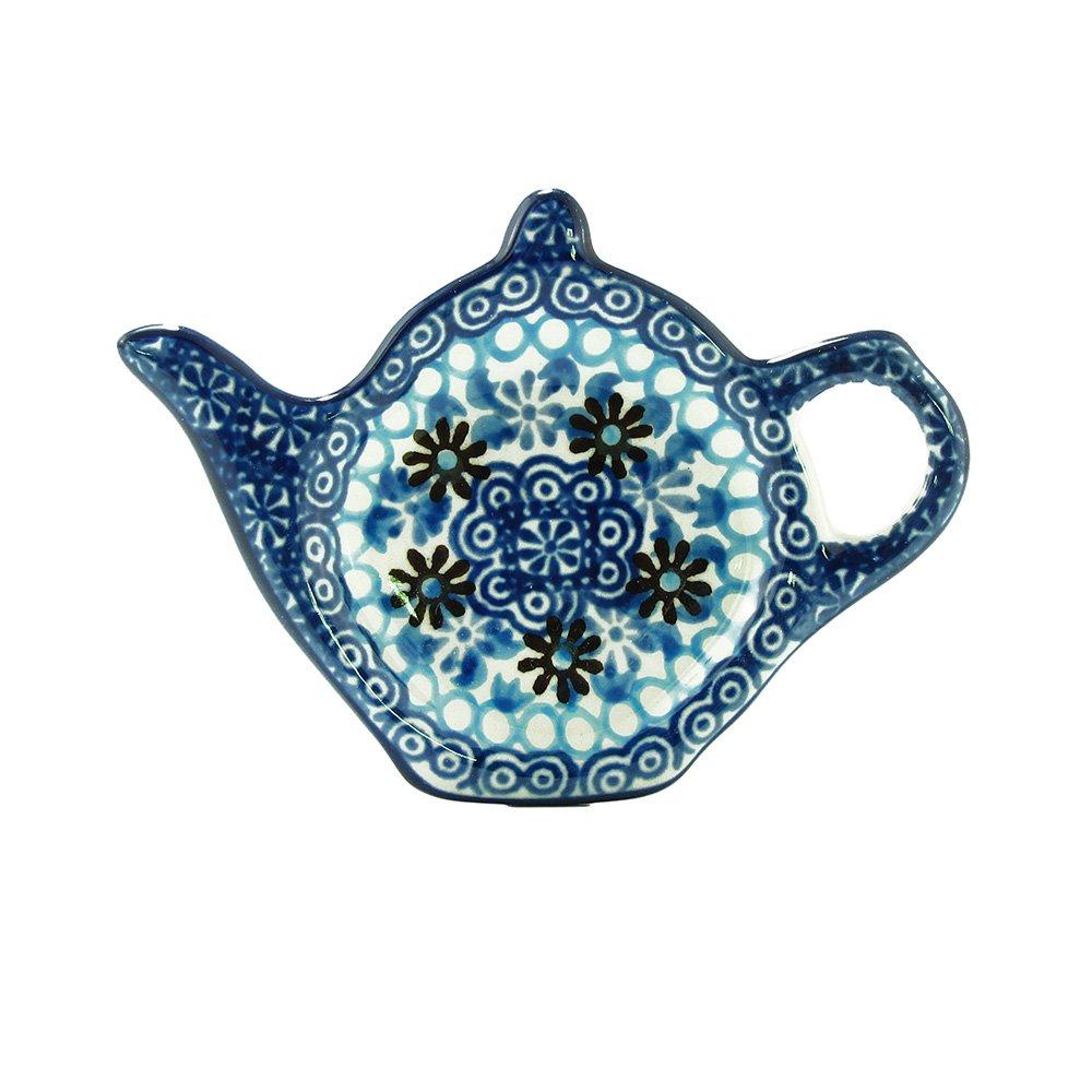 Polish Pottery Handmade Teapot Teabag Holder Traditional Stoneware Pattern 766-2187