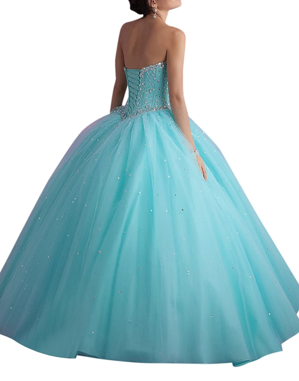 Dearta Women\'s Ball Gown Sweetheart Floor-Length Crystals ...