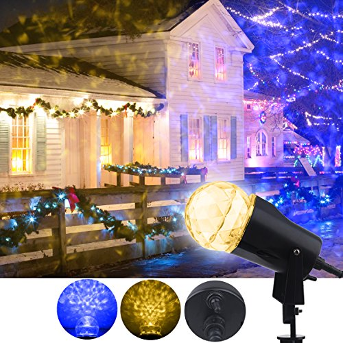 Warm Christmas Scene - YMing Christmas Projector Lights, Kaleidoscope Rotating Indoor Outdoor LED Spotlight Star Light Shower Red and Green for Christmas Holiday Decoration (Blue+ Warm White)