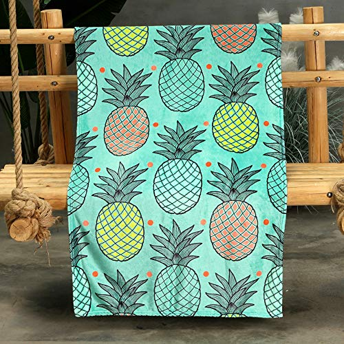 Xindda Pineapple Flannel Quilt Blanket,Machine Washable Bedding Throws,Air Conditioning Blanket Lightweight Bedspread Coverlet for Spring and Summer,Soft Comfy Breathable Can Sleep Naked