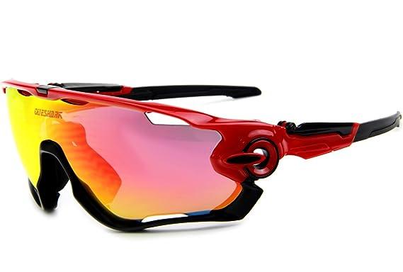 683555901e1 Queshark Polarized Full Revoed Lens Sunglasses For Cycling Bicycle 3 Lens  (Color 10)  Amazon.co.uk  Clothing
