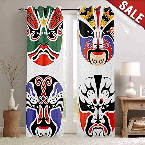 Flyerer Kabuki Mask, Waterproof Window Curtain, Traditional Chinese Cultural Opera Mask Set Collection Asian Tribal Art Theme, Room Darkening Wide Curtains, W72 x L96 Inch Multicolor