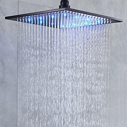 Senlesen LED Light 16-inch Rainfall Shower Head Bathroom Square Top Sprayer Oil Rubbed Bronze