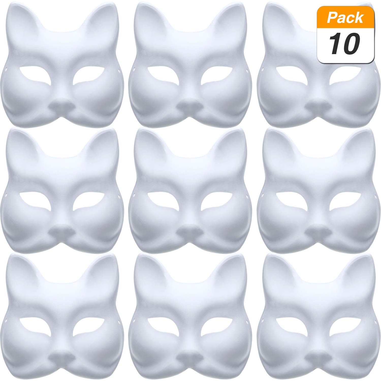 Jovitec 10 Pieces DIY Masquerade Mask Plain Paper Mask White Fox Mask DIY Halloween Mardi Gras Party