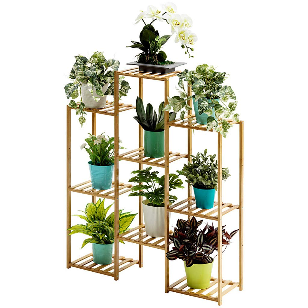 WONdere 2/3-Tier Bamboo Plant Stand Planter Rack Flower Pots Holder Disply Rack Multi-Tier Wood Plant Stand Planter Rack Flower Pots Holder Display (D)