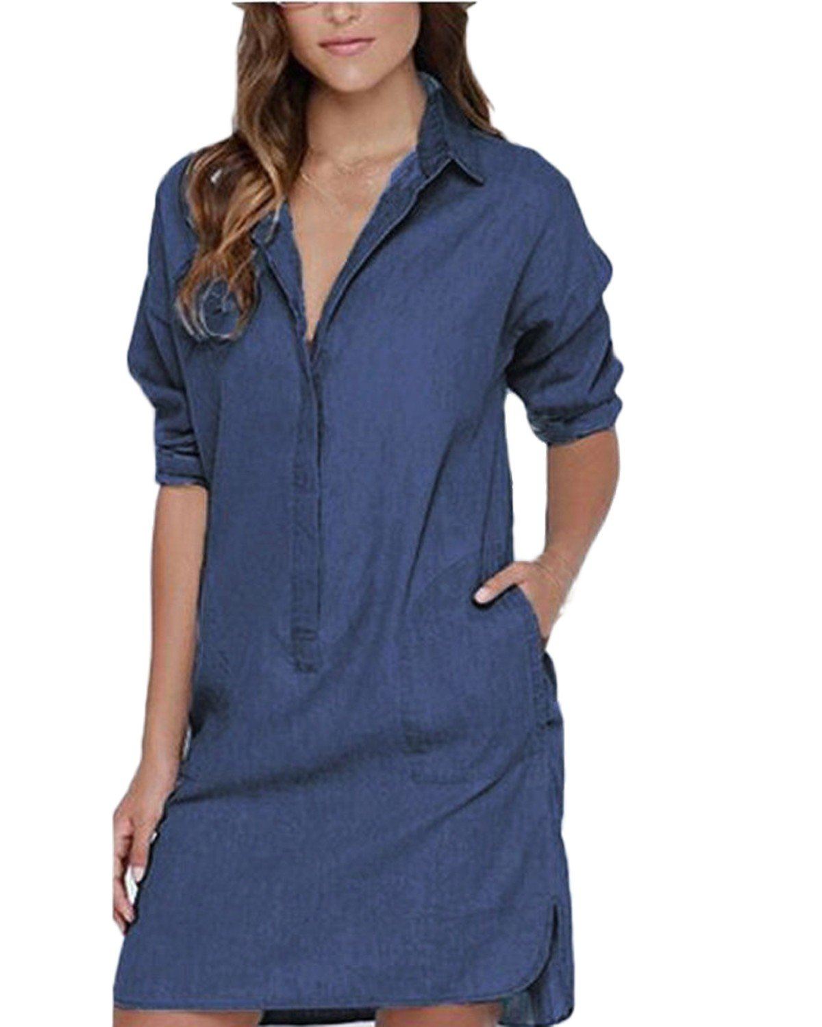 Auxo Women Denim Dress Jean Shirts Button Down Long Sleeve Shift Mini Dress Long Tops Blue 3XL