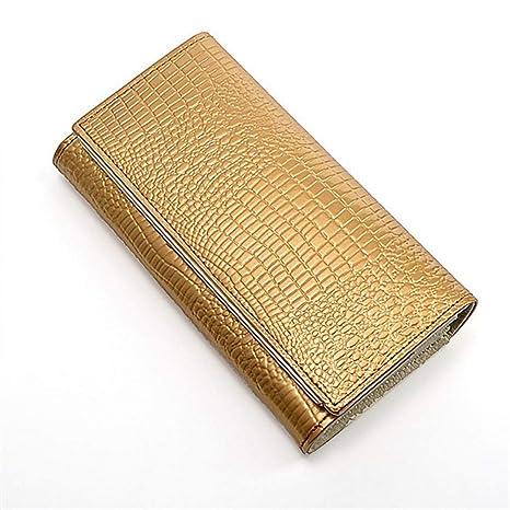 Wallet Patrón De Cocodrilo Mujeres Carteras De Cuero De Oro ...