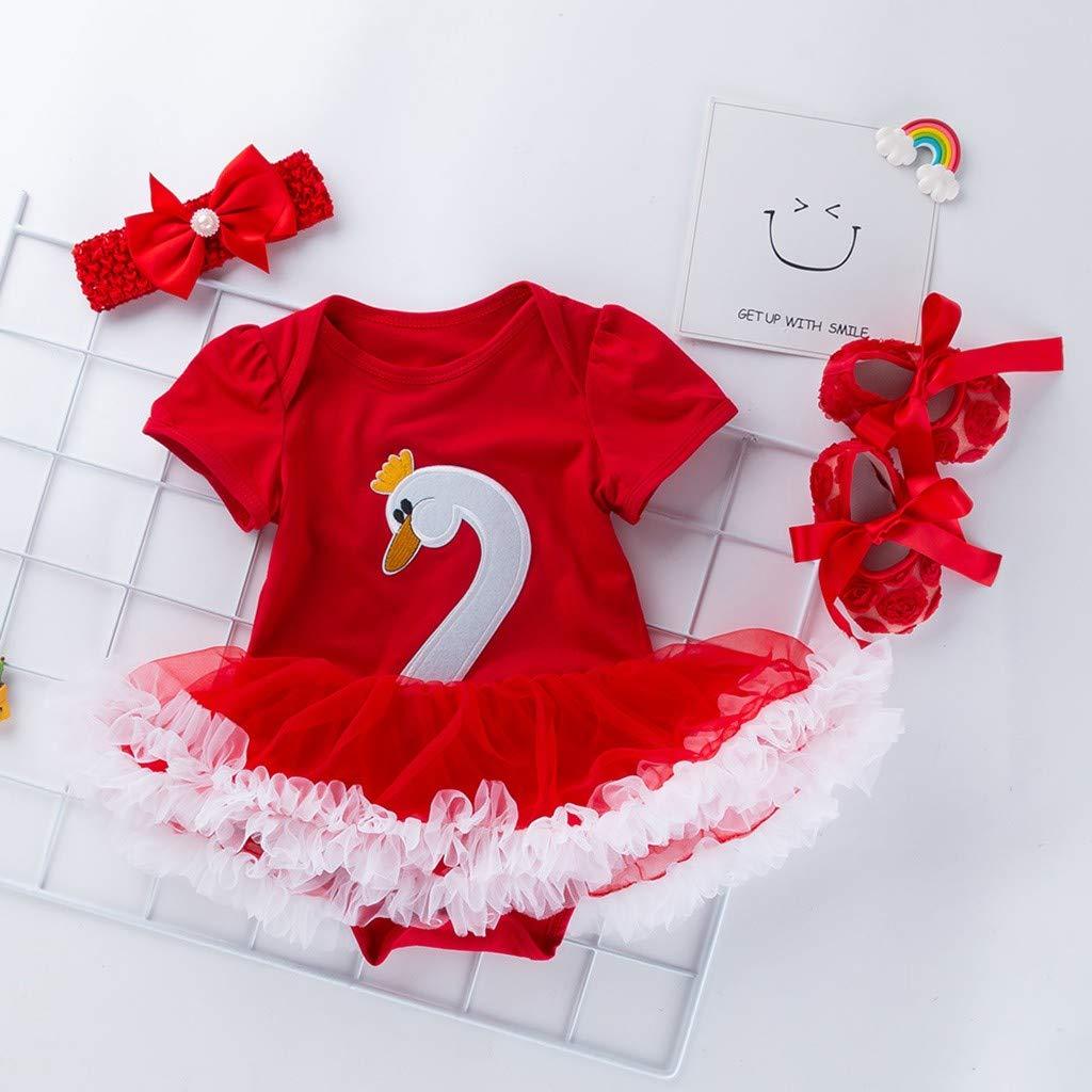 Girl Clothing Set,FeiliandaJJ 3PCS Toddler Baby Girls Cartoon Swan Princess Dress+Headbands+Shoes Set Outfit