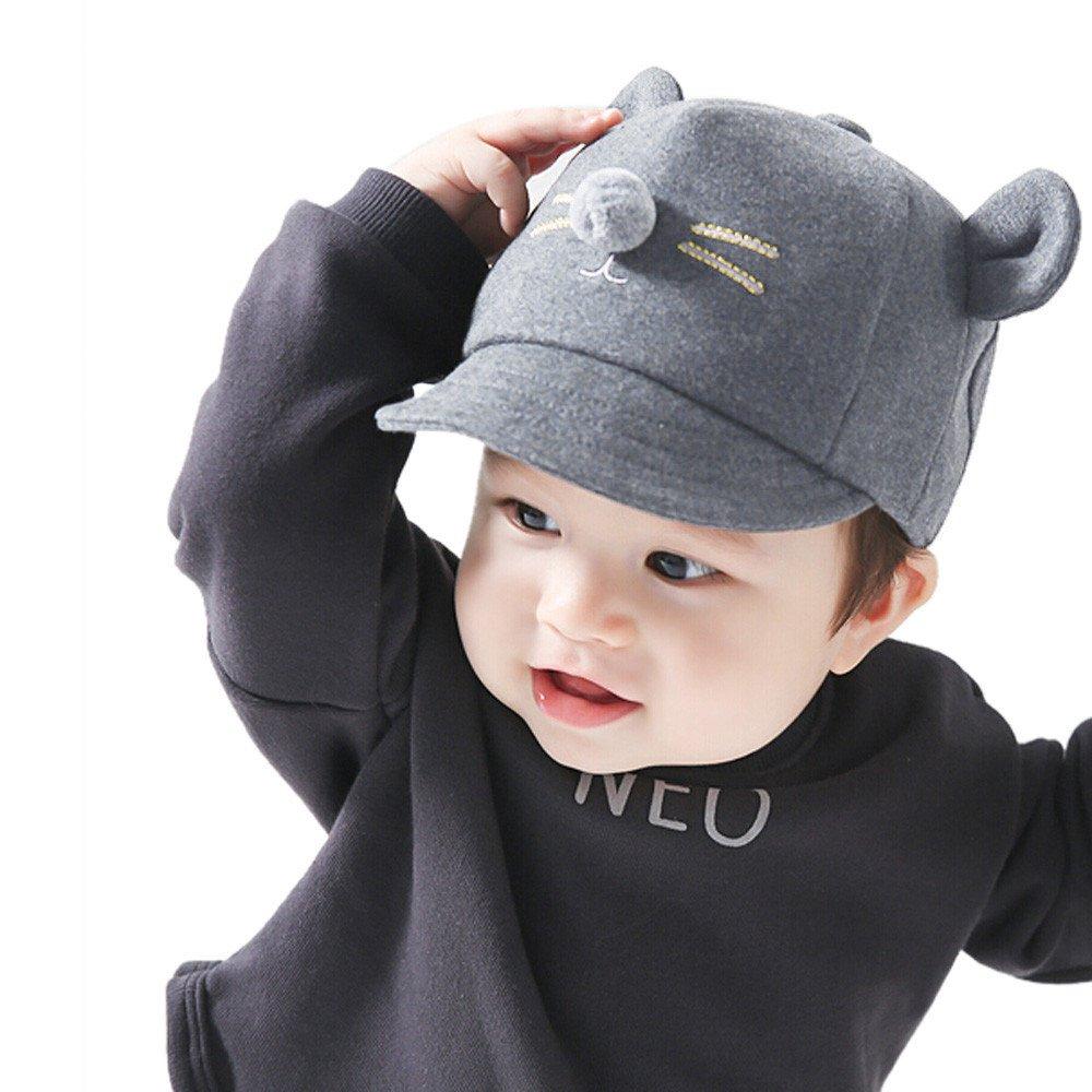 ❤️ Mealeaf ❤️ Kids Baby Bunny Rabbit Visor Baseball Cap Cotton Peaked Hat BK(Black,)