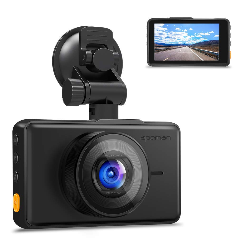 APEMAN Dash Cam 1080P FHD DVR Car Driving Recorder 3'' LCD Screen 170°Wide Angle, G-Sensor, WDR, Parking Monitor, Loop Recording, Motion Detection by APEMAN