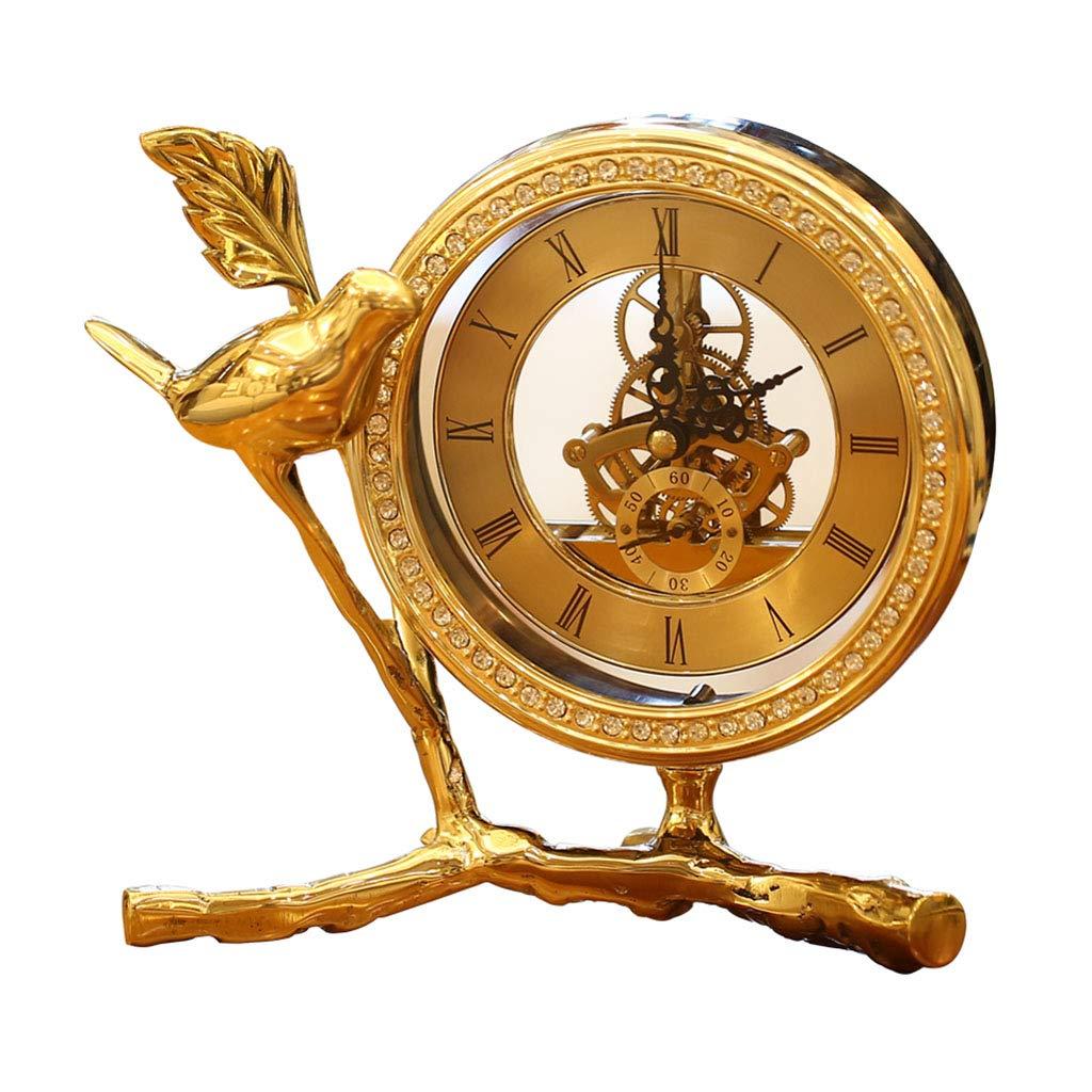 装飾材料 時計と時計の装飾リビングルームの時計ベッドサイドテーブル時計の工芸品純銅ホームワインキャビネットの装飾 (Color : Gold, Size : 19*10*19cm) 19*10*19cm Gold B07L781H3R