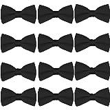 Men's Bow Tie Wholesale 12 Pack Pre-Tied Formal Tuxedo Bowties Wedding Solid Ties