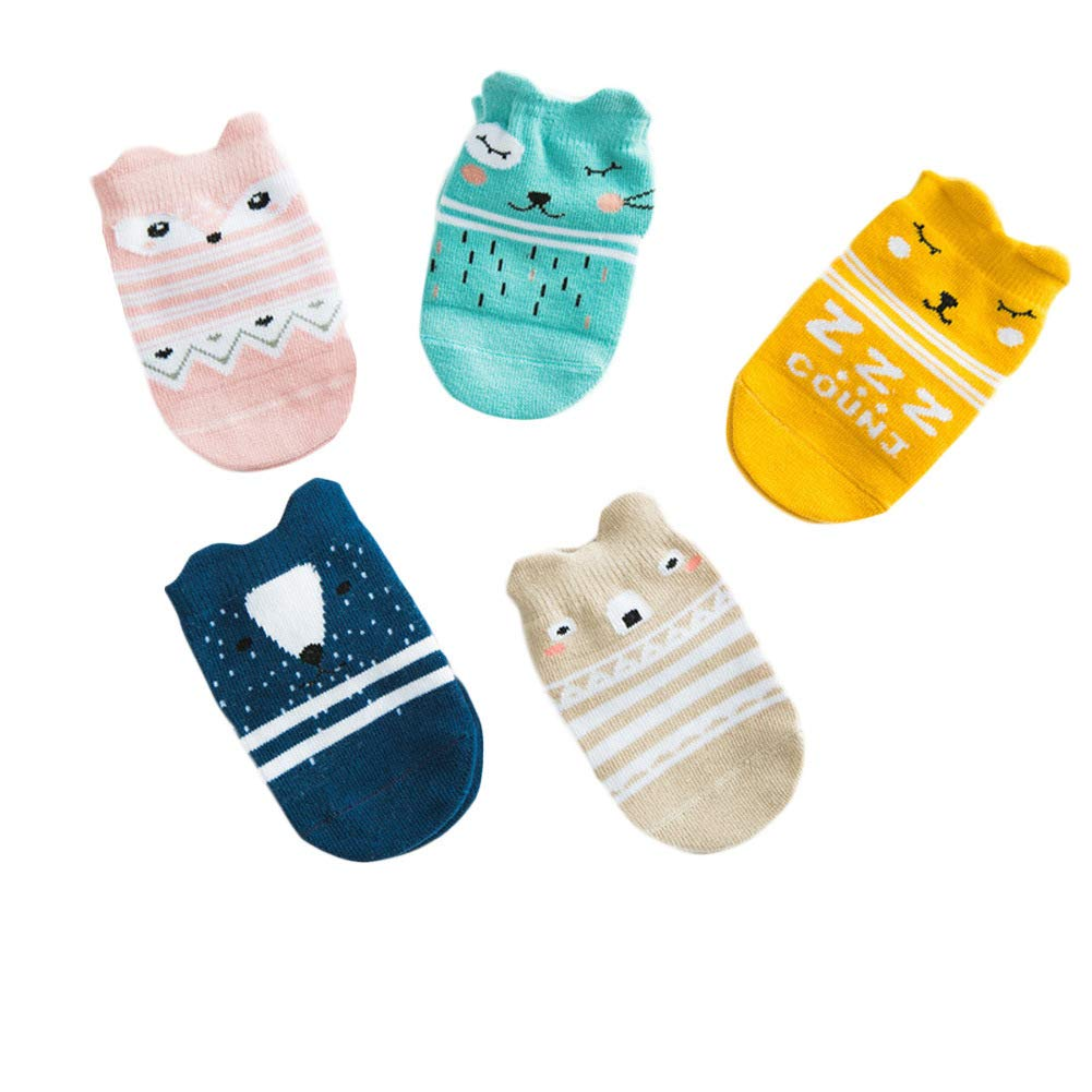 5 Pairs Toddler Baby Non Skid Cotton Spring Socks with Cartoon Animals Patterns for 0-36 Months Boys Girls