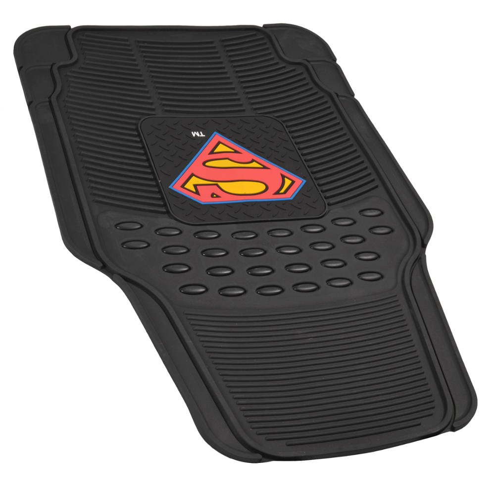 Black Trimmable To fit WBMT-1672/_AMHD BDK Superman Rubber Car Floor Mats 2 PC Front Heavy Duty All Weather Protection