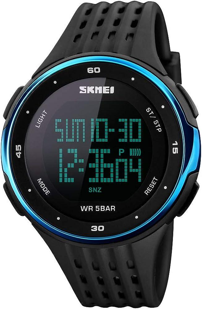 Hombres Mujeres Moda Multifunción Impermeable Deporte Reloj con Cuenta Regresiva Cronómetro Cronómetro Calendario Alarma Impermeable 50m Azul
