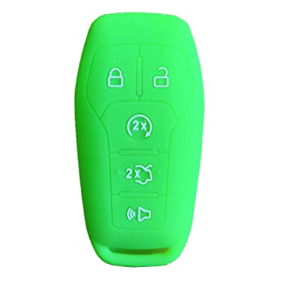 Rpkey Silicone Keyless Entry Remote Control Key Fob Cover Case protector For 5 Button 2015 2016 Ford Mustang Lincoln MKZ MKC MKX M3N-A2C31243300 EJ7T-15K601-AF 164-R7991(green): Automotive