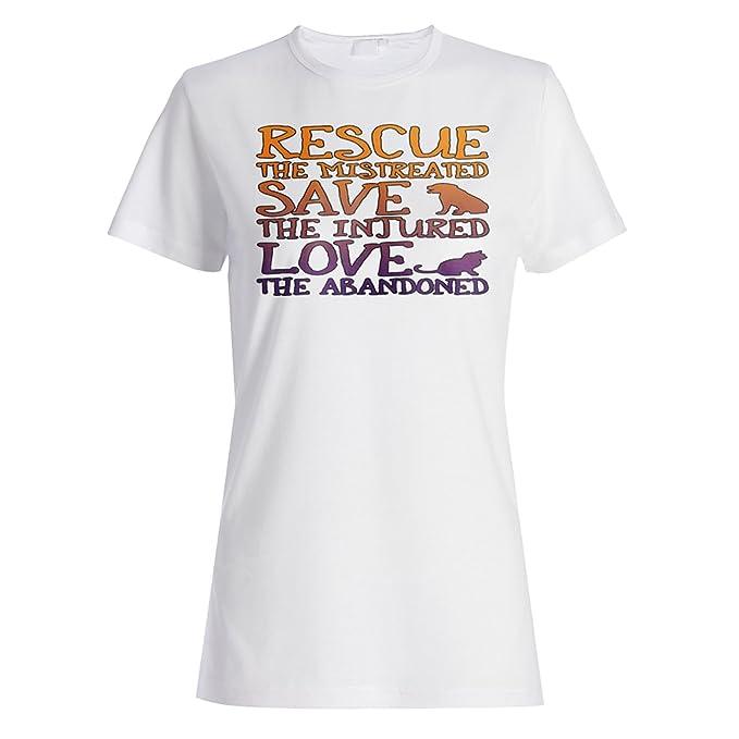 INNOGLEN Rescatar a los Perros Gatos maltratados Camiseta de Las Mujeres z981f: Amazon.es: Ropa y accesorios