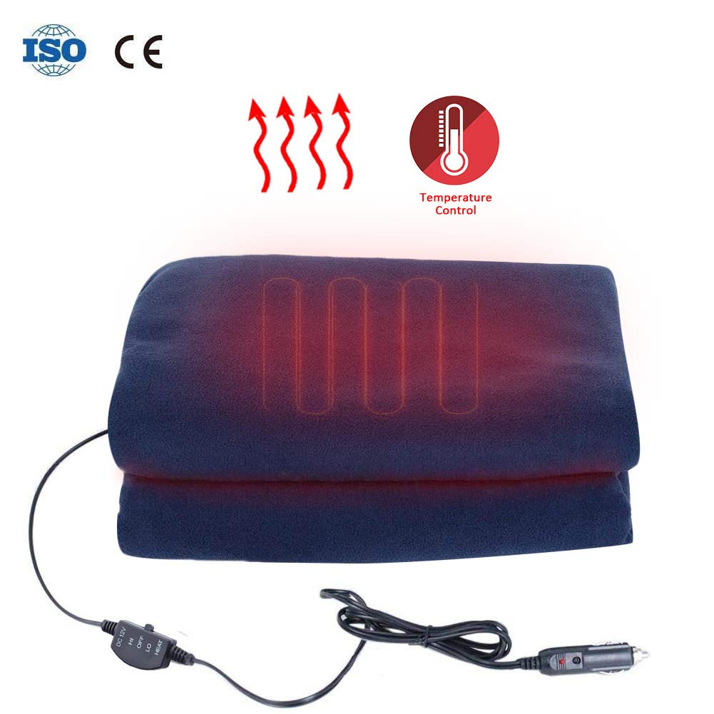 Car Heating Blanket -12v Car Travel Heating Blanket 3 Levels Position Control Room Car Heating Blanket Suitable For Cold Weather Travel Long-Distance Camping for Car, Truck,Boats with High/Low Temp Control (60'x45') Shine-U
