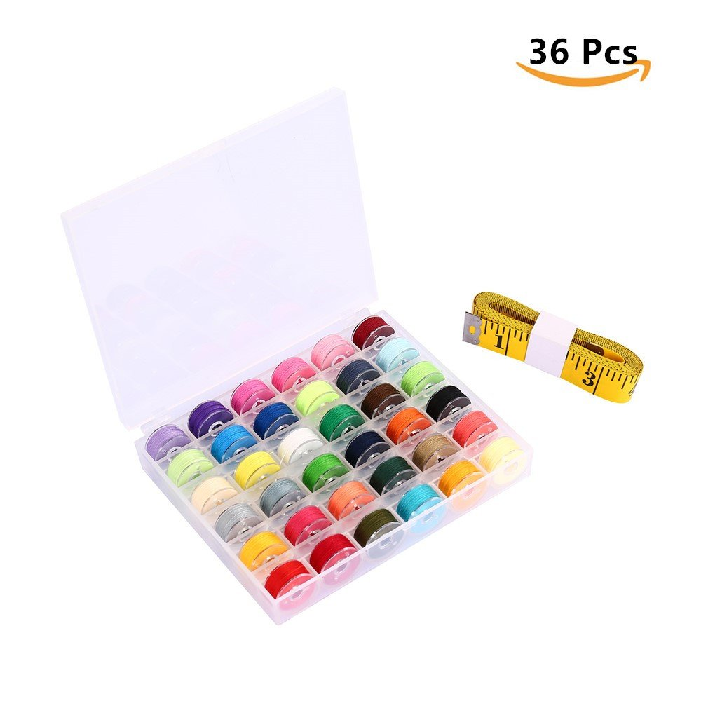 Afufu Sewing Machine Bobbin Threads 36 Pieces with Bobbin Storage Box and 3M Measuring Tape for Brother Babylock Janome Singer Elna Sewing Machine (Assorted Colors)