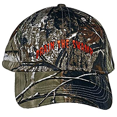 Licensed Realtree Camo Flex-Strap-Trump Drain The Swamp Hat Embroidered in NC