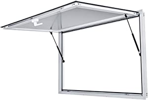 VEVOR Concession Stand Window 48 x 36 Inch with Double-Point Fork Lock Handle Concession Stand Serving Window with Awning Door Up to 85 degrees Concession Awning Door for Food Trucks