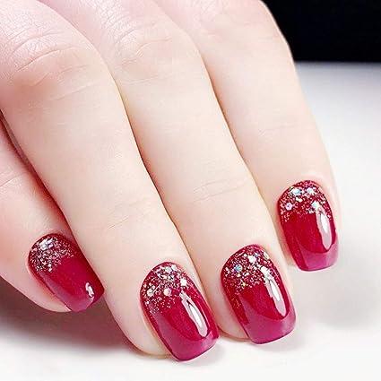 Uñas postizas cortas de color rojo decoradas con purpurina, 24 unidades