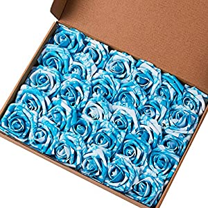 Marry Acting Artificial Flower Rose, 30pcs Real Touch Artificial Roses for DIY Bouquets Wedding Party Baby Shower Home Decor ... 30