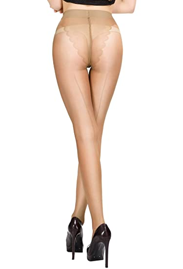 ce64bc7c93 HONENNA Sheer Reinforced Crotch Pantyhose Tights With Back Seam (Small,  Nude)