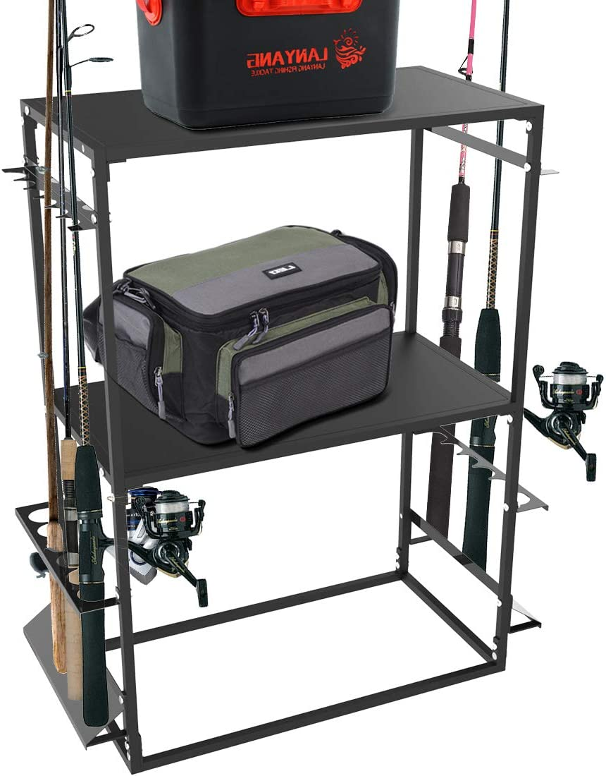 Fishing Rod//Pole Holders Storage Rack 2-Shelf Heavy Duty Fishing Tackle Storage Stand for Garage Hold Up to 12 Fishing Rods