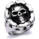Men's Stainless Steel Big Skull Ring Bike High End Polished Silver Tone