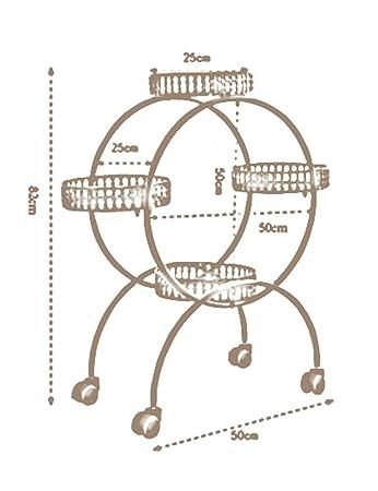 LB Europeo - estilo del hierro - Tres Tier movible de la maceta de estanterías Polea Macetas de estante Sala de estar Balcón Estantería para macetas (Color ...