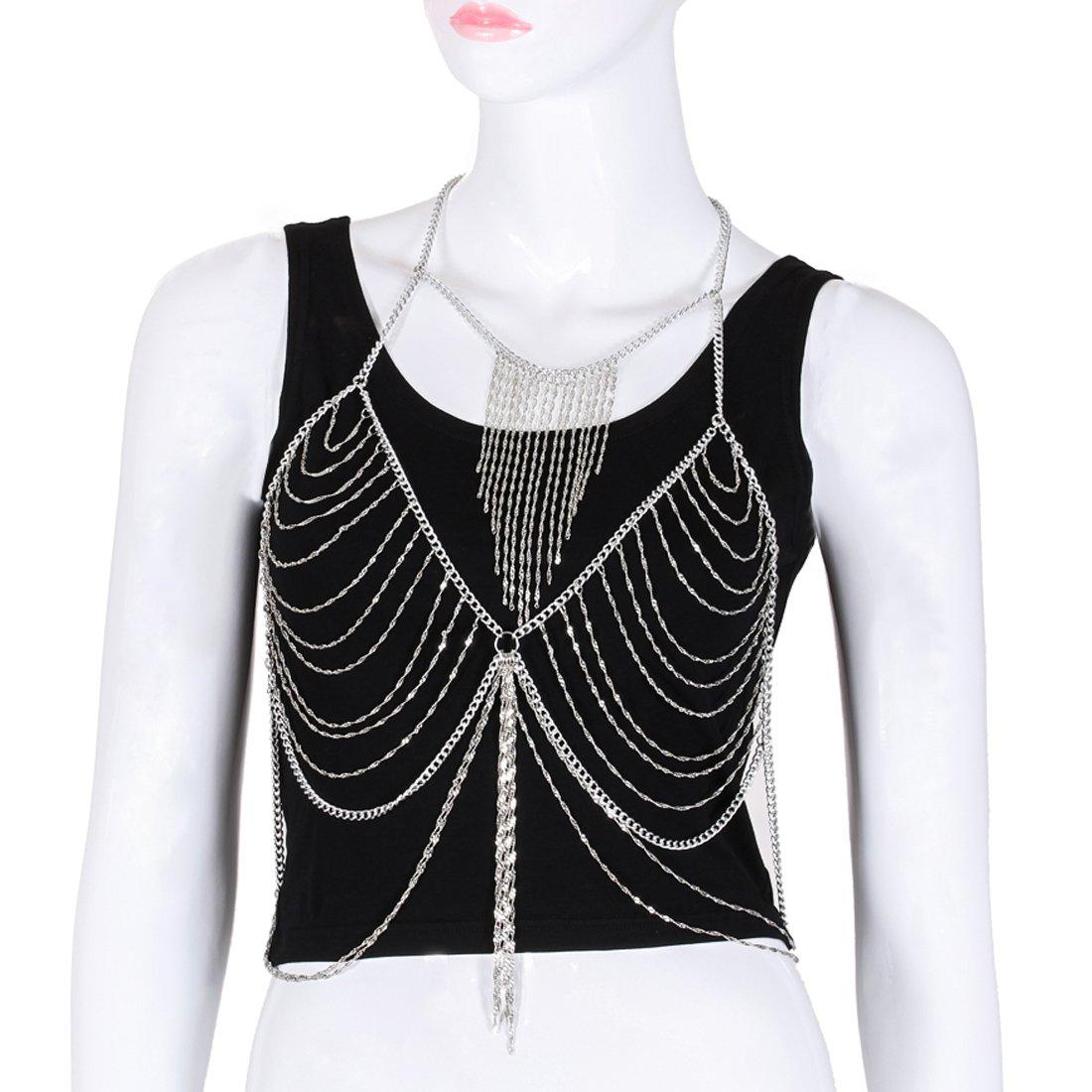 Fine Fashion Boderier Retro Bikini Bralette Chain Harness Necklace Crossover Body Chain For Women Statement Jewelry (Silver)